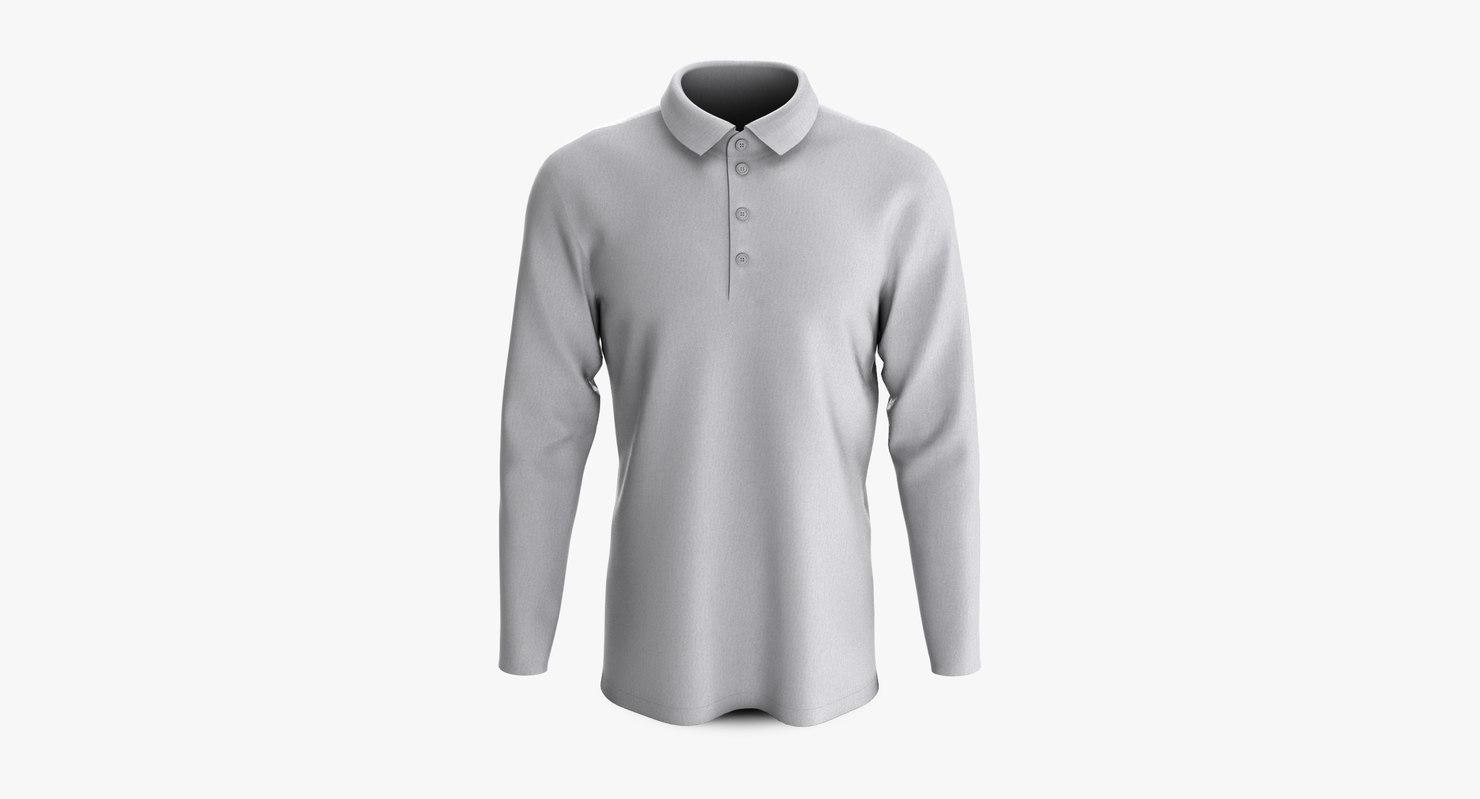 cotton male polo shoulder 3D model