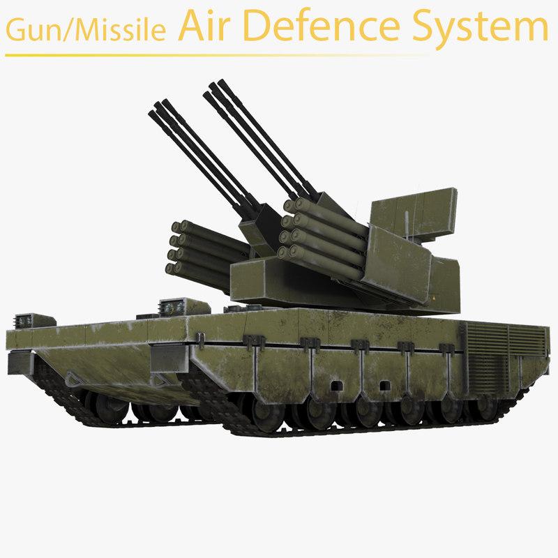 gun missile air defense 3D model