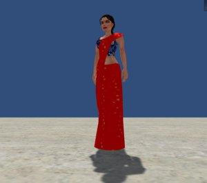 women saree 3D model