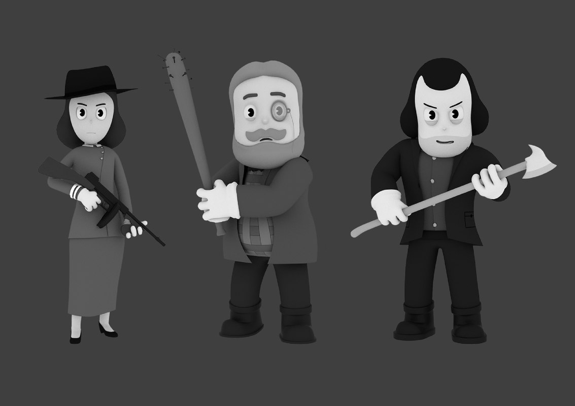 3D model characters videogame rig
