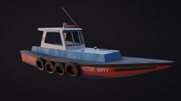 3D old harbour boat asset model