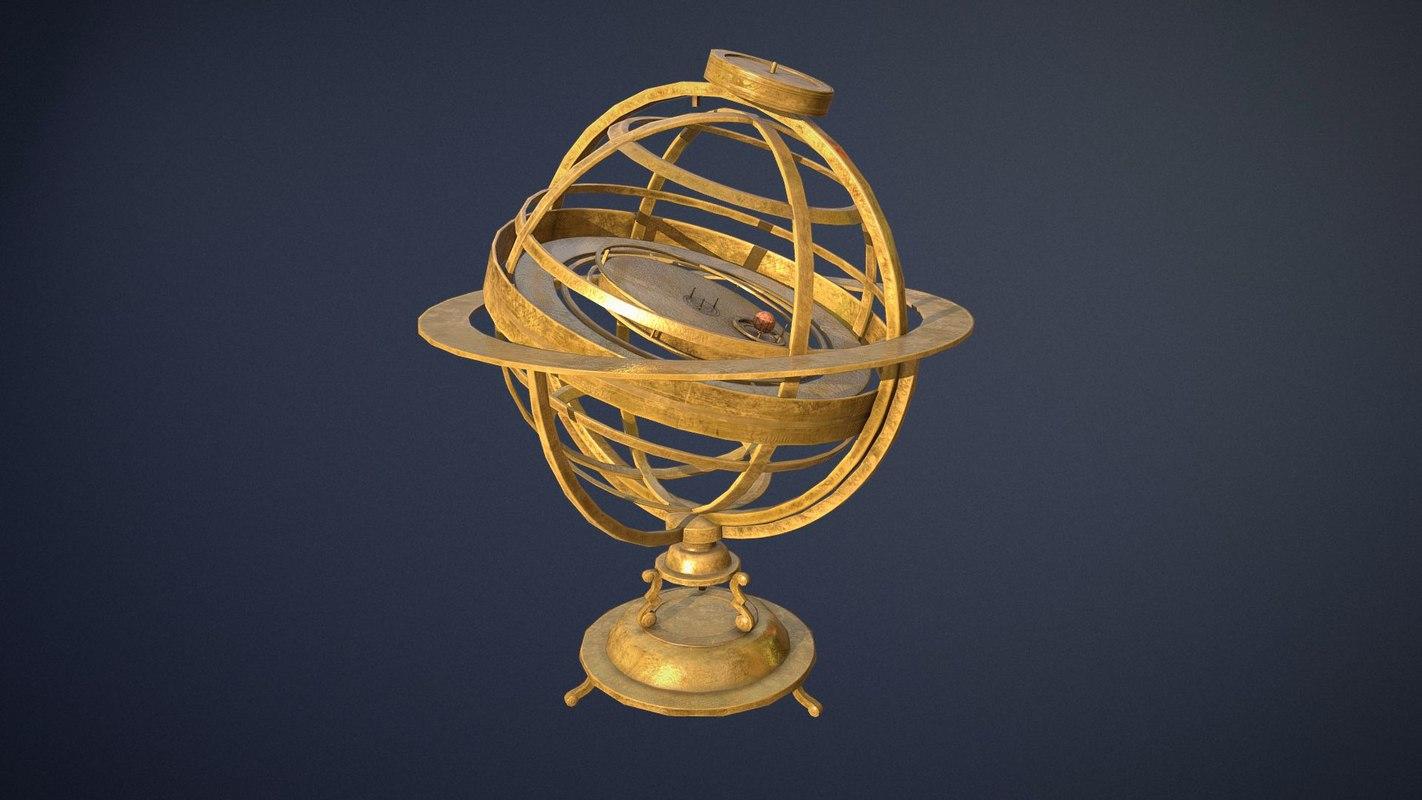 3D old brass solar device model