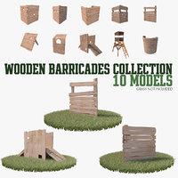 3D wooden barricades model