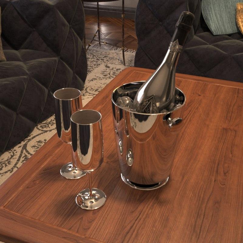champagne armand brignac 3D model