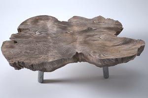 3D coffee table wood model