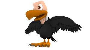 3D cartoon vulture bird