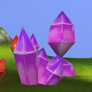 handpainted crystals 3D model