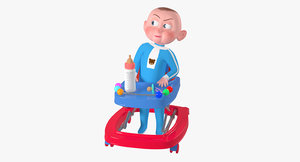 rigged cartoon character baby 3D model