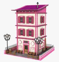 3D pink old building model