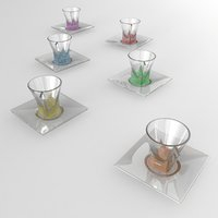 multicolor glass espresso cups 3D model
