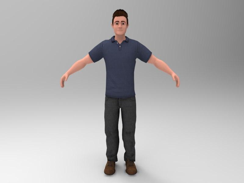 young cartoon man 3D model