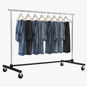 jeans clothing rack 3D model
