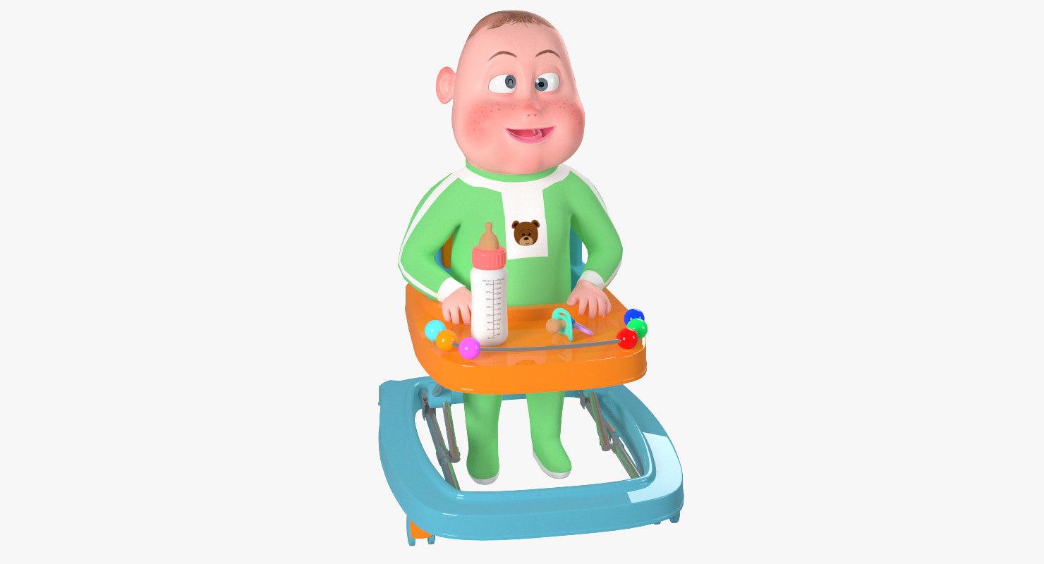 rigged cartoon character baby model