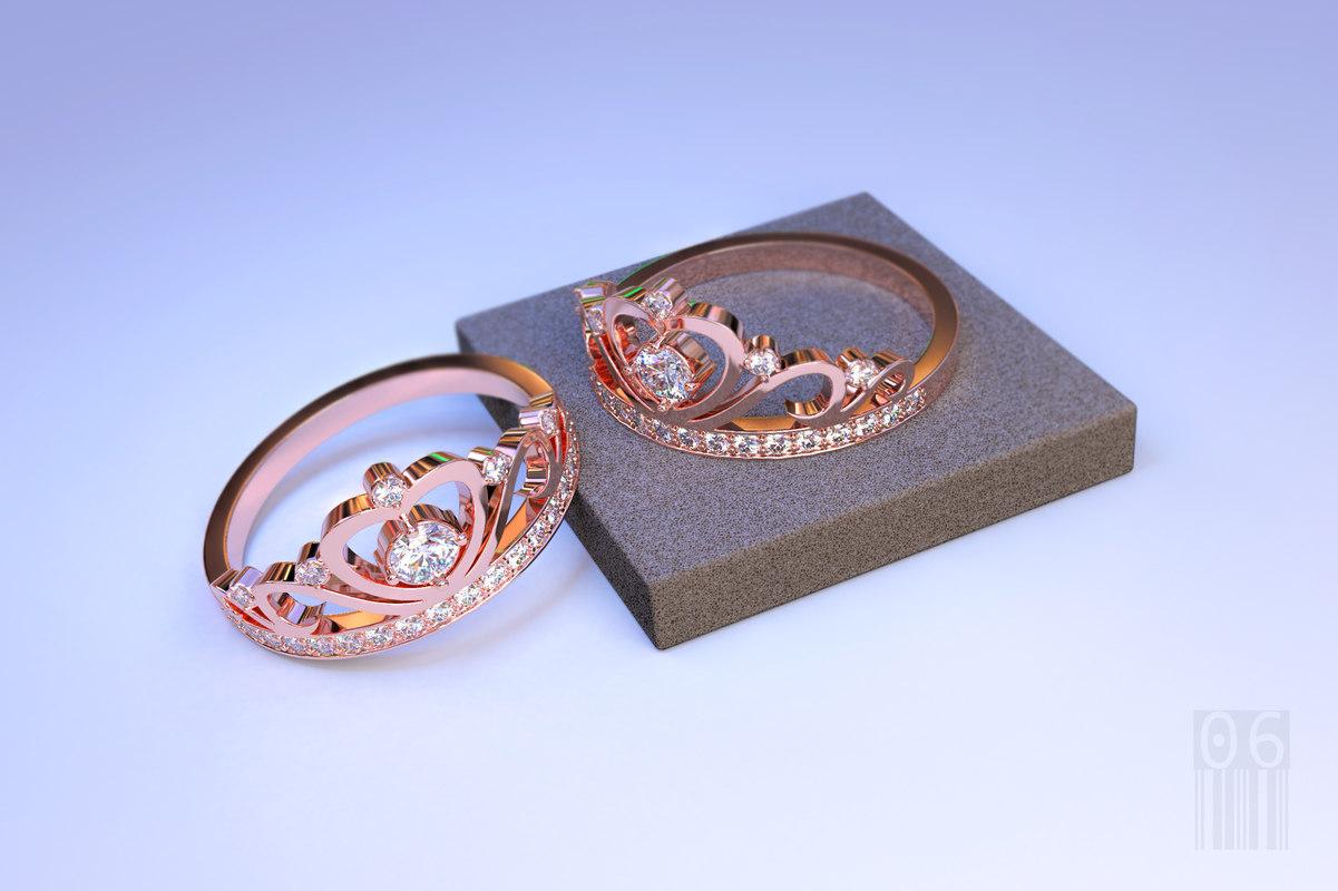 gold ring crown 3D model