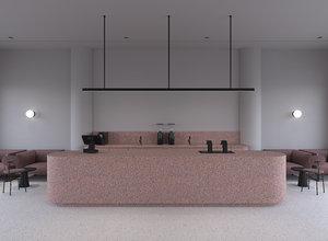 3D interior design scene cafe model