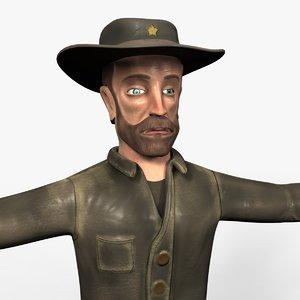 3D sheriff cowboy model