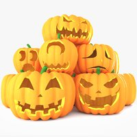 3D model halloween pumpkin faces