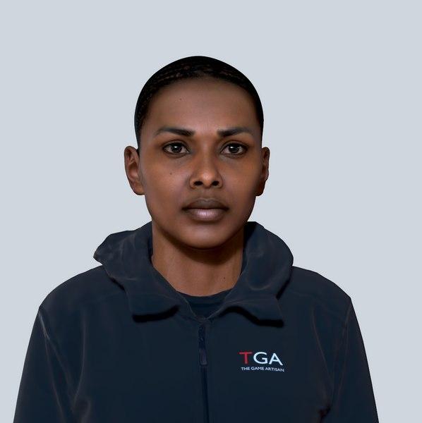 3D model afro woman head