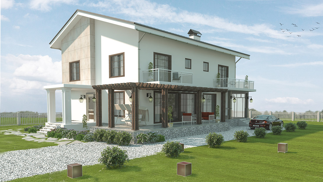house villa architectural 3D model