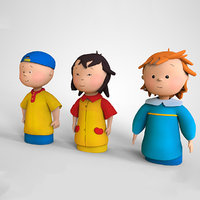 3D caillou cartoon mascot character