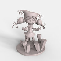 3D cute crazy cartoon girl