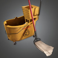 Mop Bucket And Mop (HPL) - PBR Game Ready