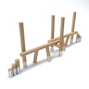 3D wooden playground barrier model