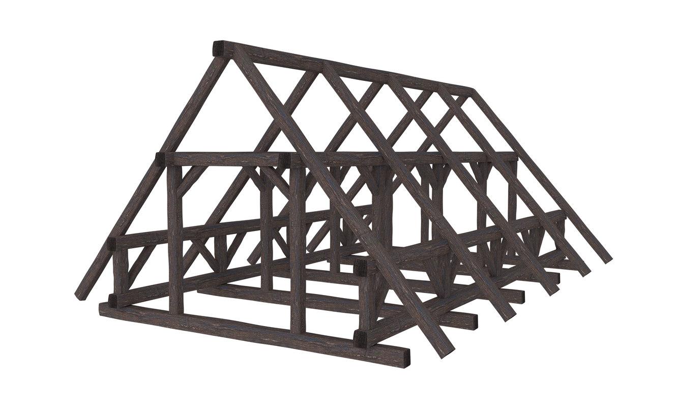 wood roof construction 3D model