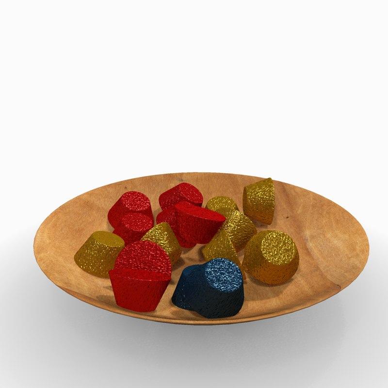 3D plate bowl candies