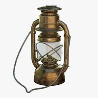 low-poly bronze oil lamp 3D