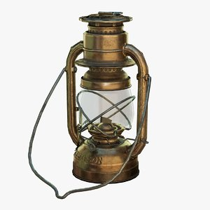 low-poly bronze oil lamp 3D