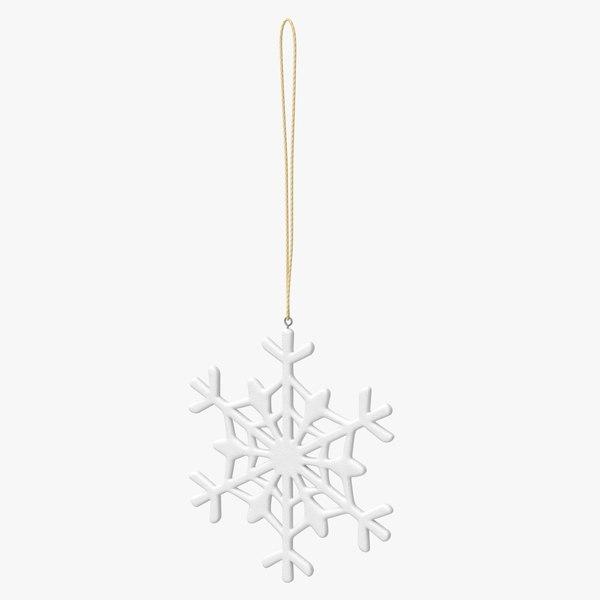 3D snowflake snow tree model