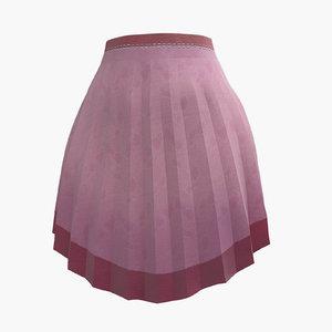 3D model skirt pink pleated
