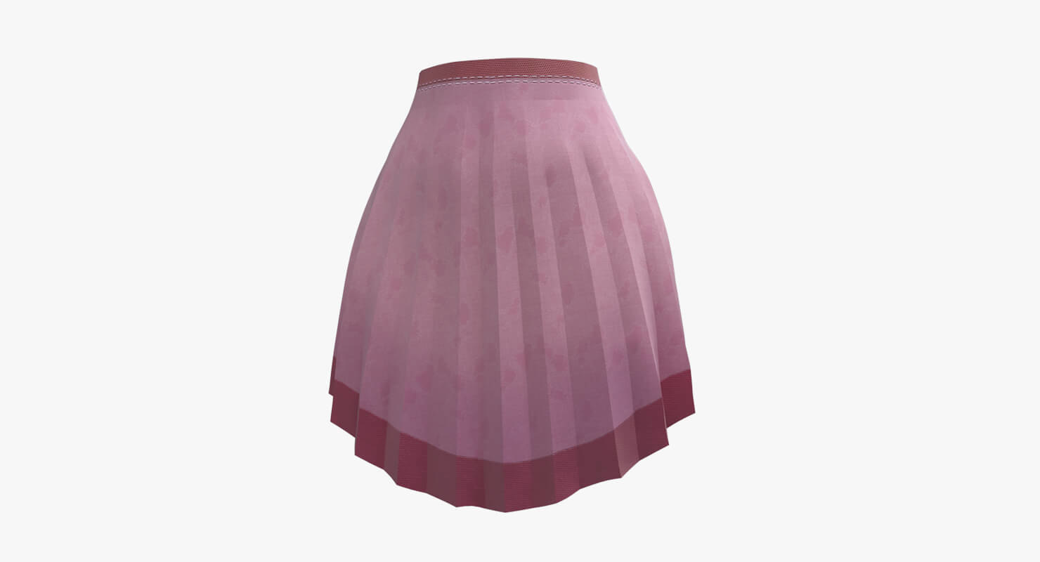 3D model skirt pink pleated