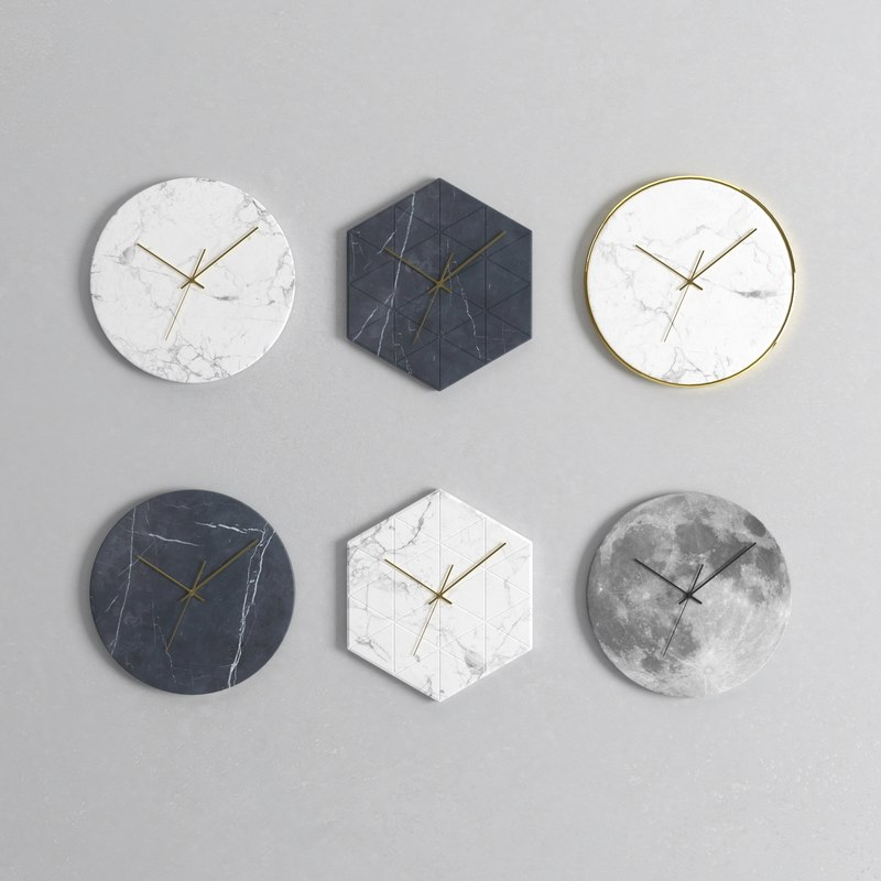 3D wall clock set