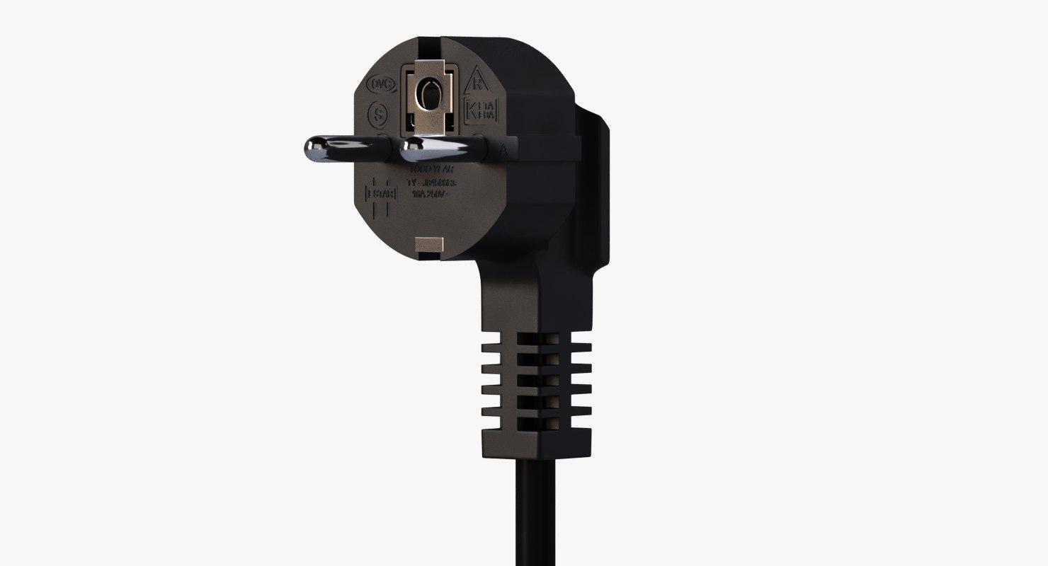 3D model european power plug