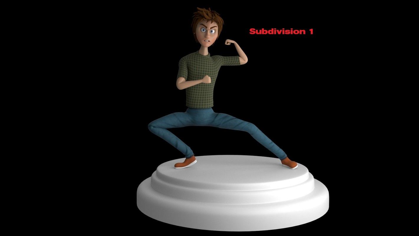 cartoon boy rigged 3D