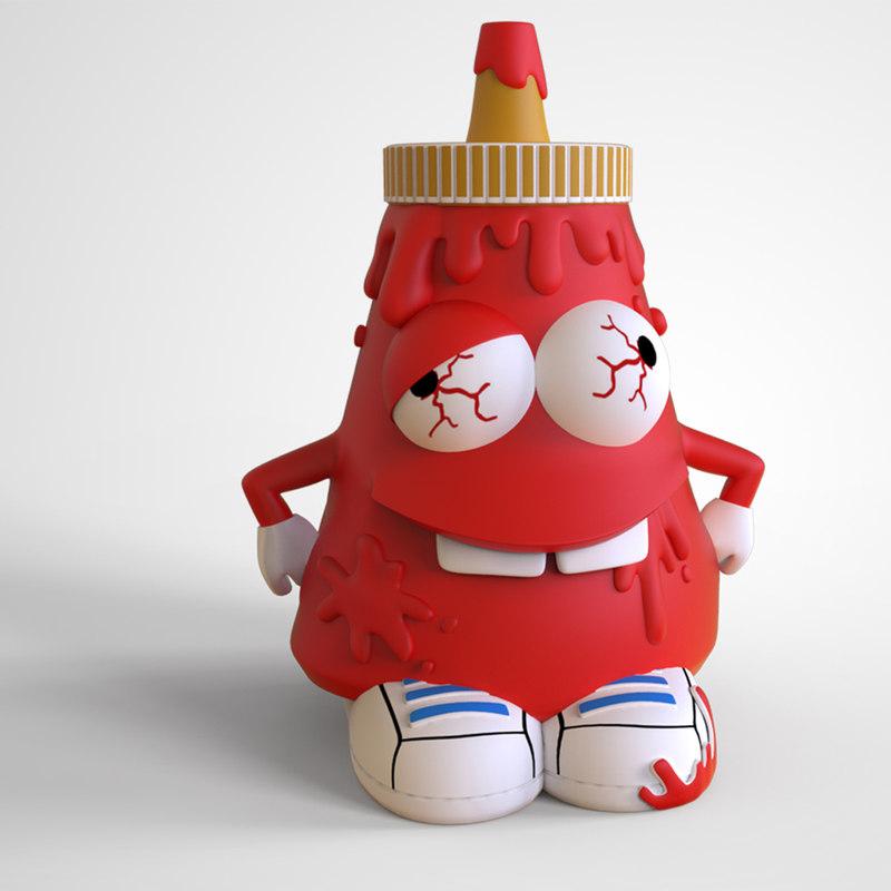 ketchup bottle character print 3D model