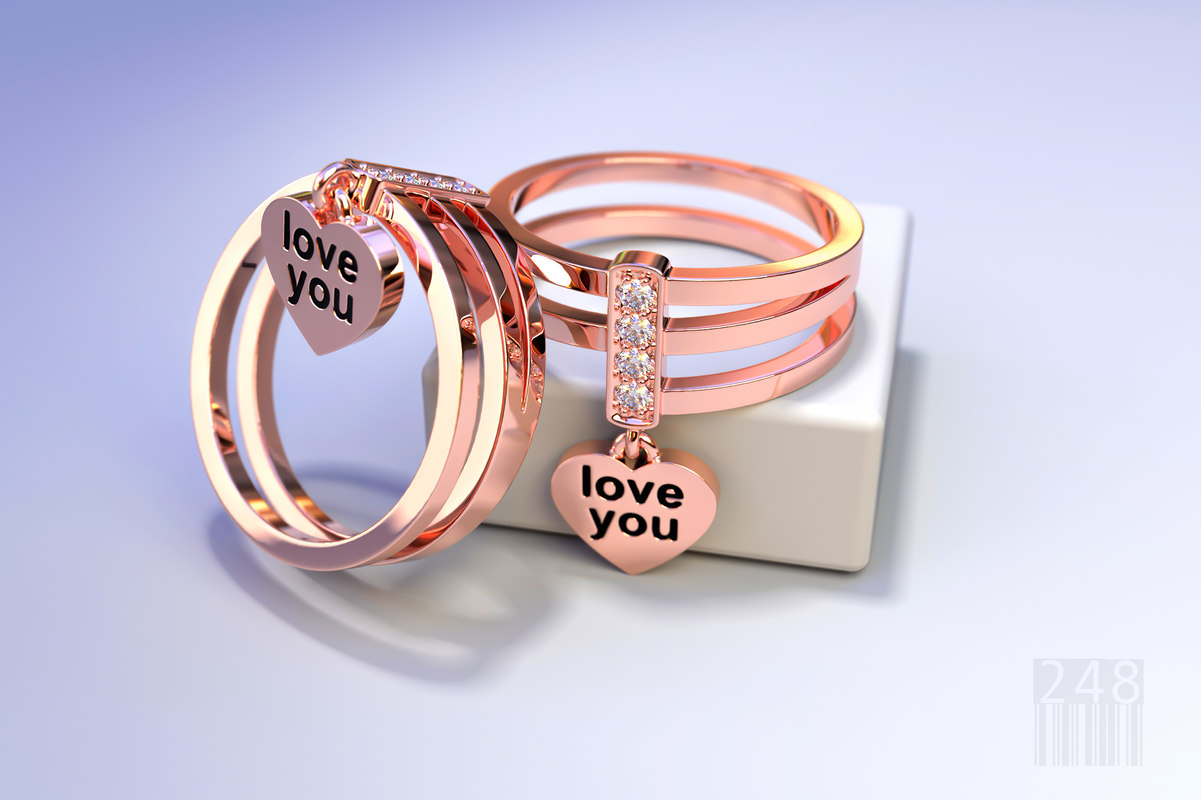 3D jewelry gold ring love