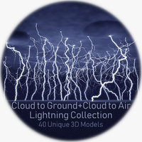 40 lightnings realistic 3D