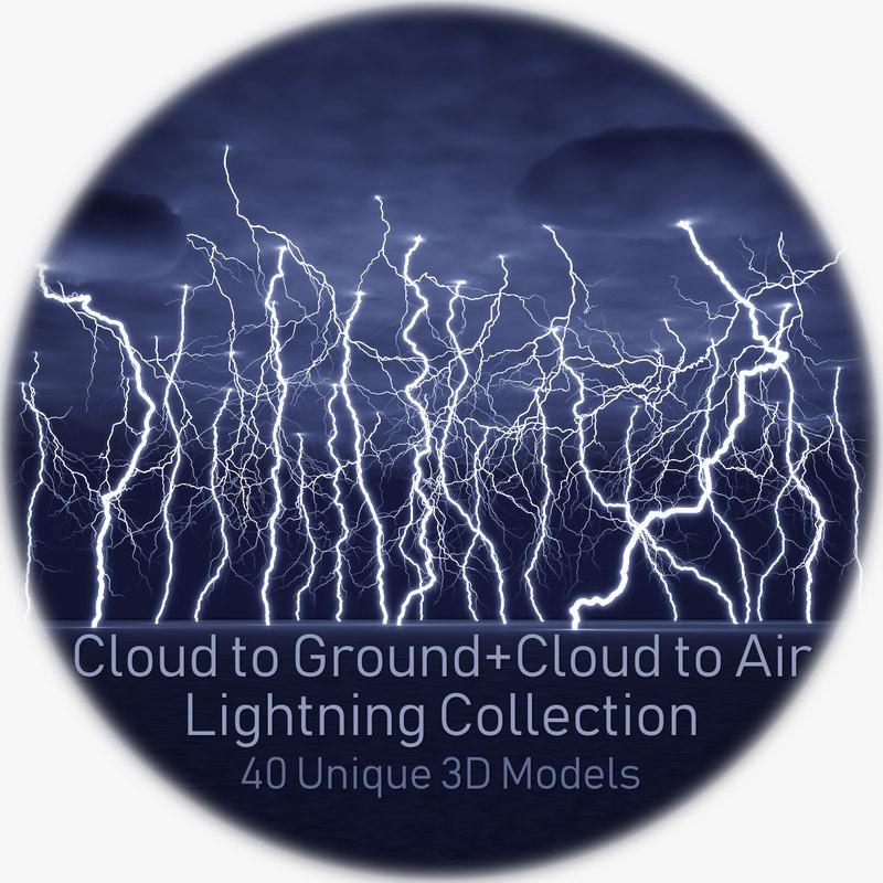 40 lightnings realistic 3D