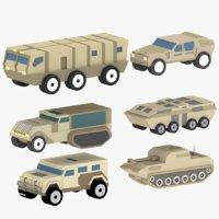 cartoon military equipment 3D model