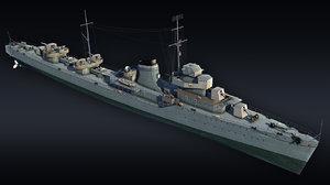 3D destroyer ship gremyashiy