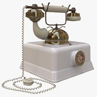 3D model vintage rotary telephone