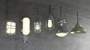 industrial factory lights 3D