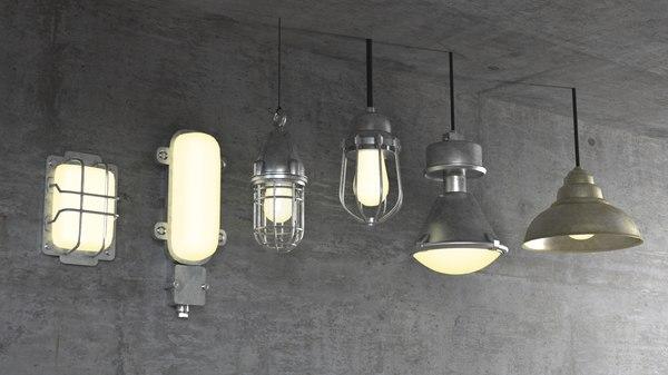 industrial factory lights 3D