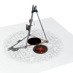 tripod manhole 3D