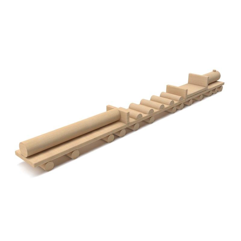 3D wooden playground train