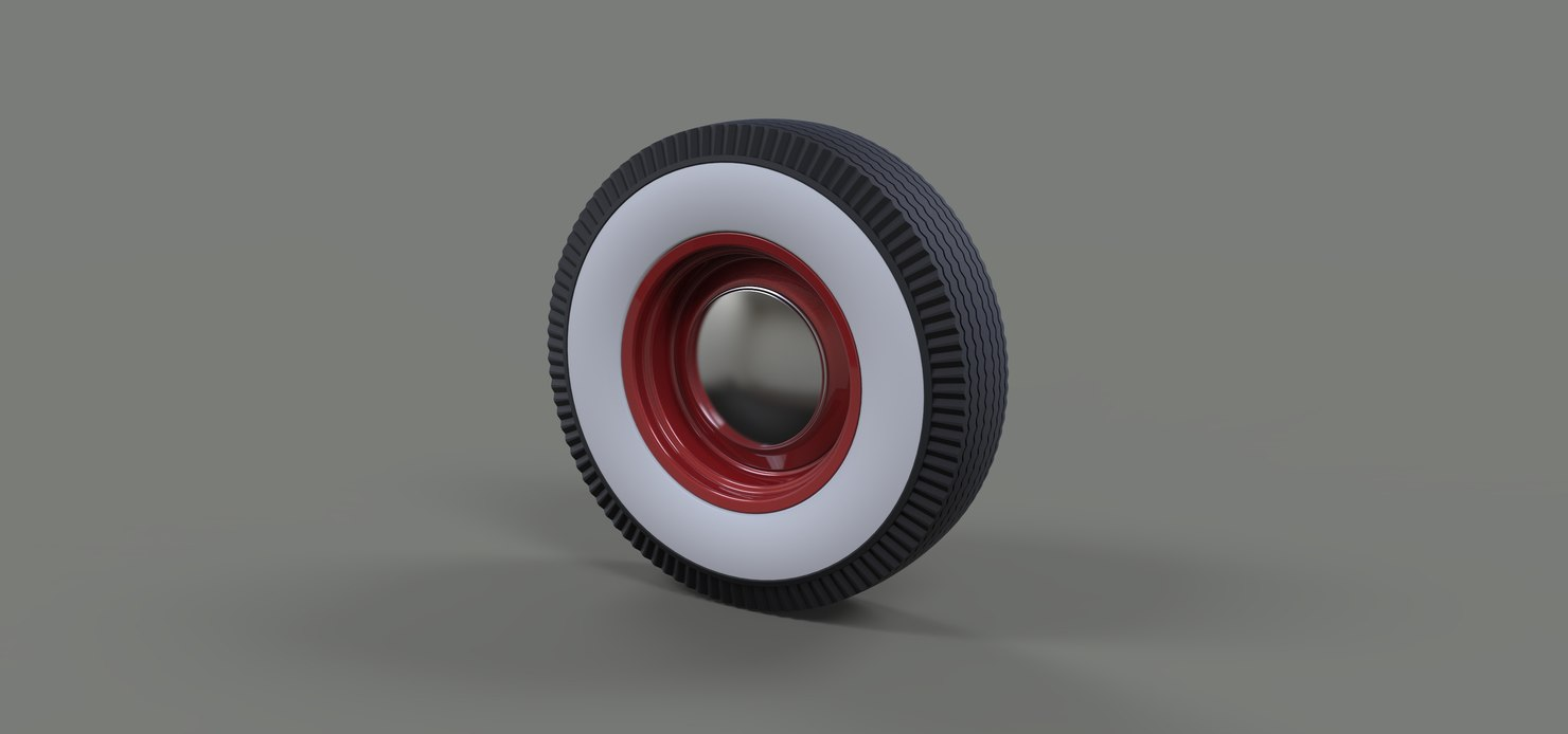 wheel car retro 3D model
