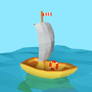 3D cartoon sailing boat model
